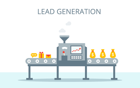 Process of leads production on the conveyor belt. Marketing concept in flat style. Lead generation vector concept. Imagens - 75865949