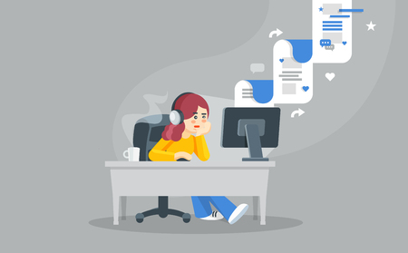 Internet surfing concept. Flat vector illustration. Girl sitting at a table behind a computer looking at the computer screen and watching social network. Illustration