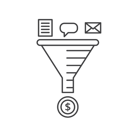 Email strategy concept. Sale Funnel vector line icon.