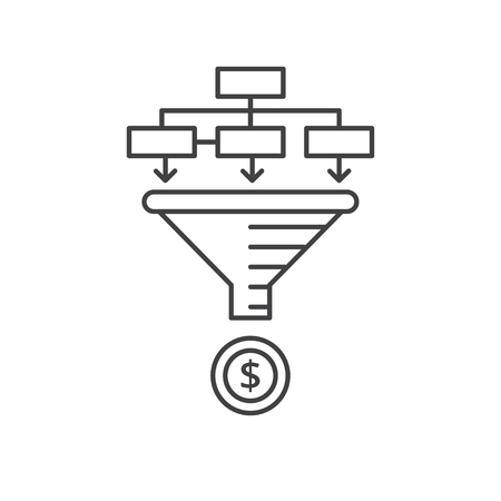 Internet marketing strategy concept. Sale Funnel vector line icon.