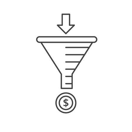 Internet marketing strategy concept. Sale Funnel vector line icon.