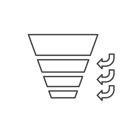 Sales Funnel with stages of the sales process. Vector isolated line icon. Internet marketing concept. Illusztráció