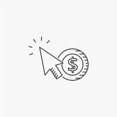 contextual: Internet marketing concept. Pay per click vector line icon.