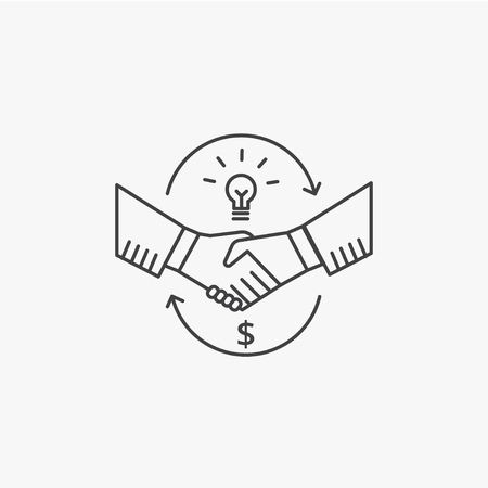 Partnership and handshake concept. Shaking hands line vector icon.