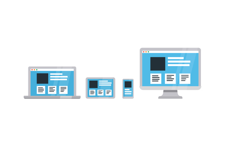 responsive: Responsive web design on different devices; Flat vector illustration. Illustration