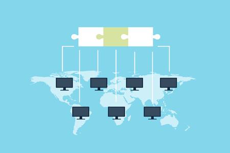Ilustración de vector de tecnología de cadena de bloque. La base de datos pública de transacciones se registra en computadoras que se ejecutan en la misma red. Concepto de moneda Crypto. Ilustración de vector