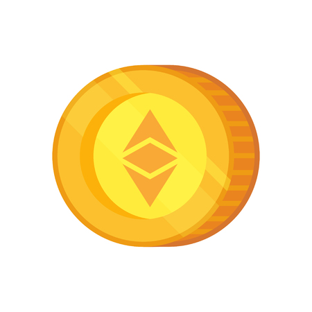 Ethereum vector icon. Cryptocurrency with huge market capitalization. Based on blockchain technologie.