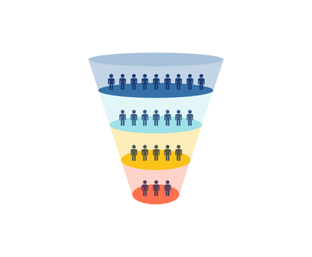 Colorful Sales Funnel with stages of the sales process. Marketing concept - vector illustration.