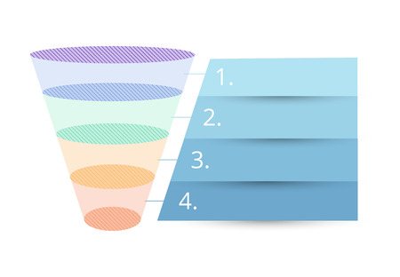 Colorful sales funnel with stages of the sales process vector illustration.  イラスト・ベクター素材