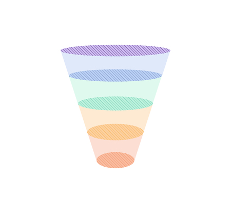 Colorful sales funnel with 5 stages of the sales process vector illustration.