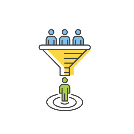 Sales funnel vector line icon. Internet marketing conversion concept.