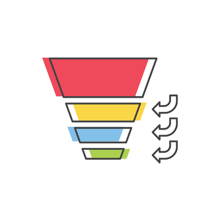 Sales Funnel with 4 stages of the sales process. Vector isolated line icon. Internet marketing concept. Illusztráció