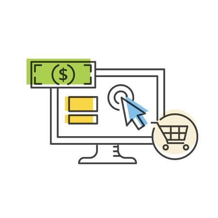 PPC広告と変換ベクトルラインアイコン。インターネットマーケティングのコンセプト。