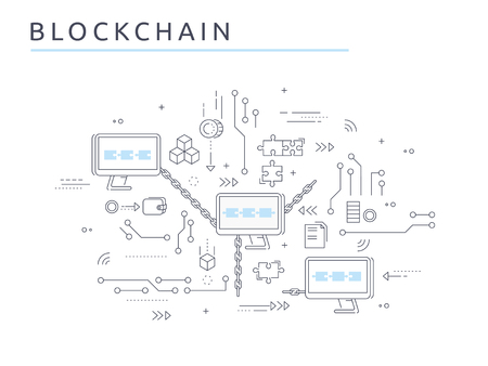 Blockchain technology process abstract illustration in thin line style. Crypto-currency vector concept. Computers chained to network exchange information.