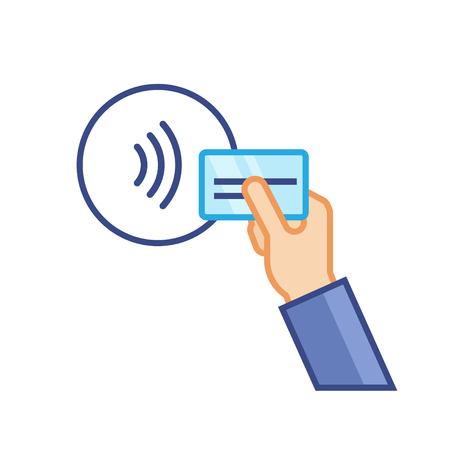 Pos terminal confirms contactless payment from credit card. NFC Payment vector illustration in flat style.