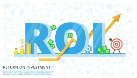 ROI concept design with elements. Return on investment - vector flat banner. Illustration of efficiency of investments in business.