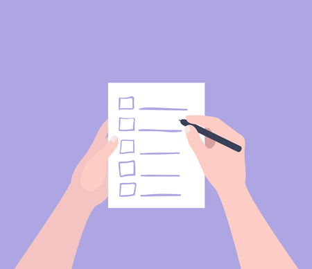 Hand holding filling form Checklist. To Do List Flat Vector Illustration.