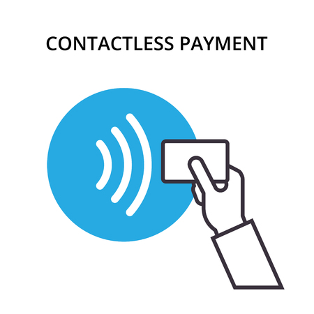 Pos terminal confirms contactless payment from credit card. NFC vector outline Icon. Near-field communication concept.