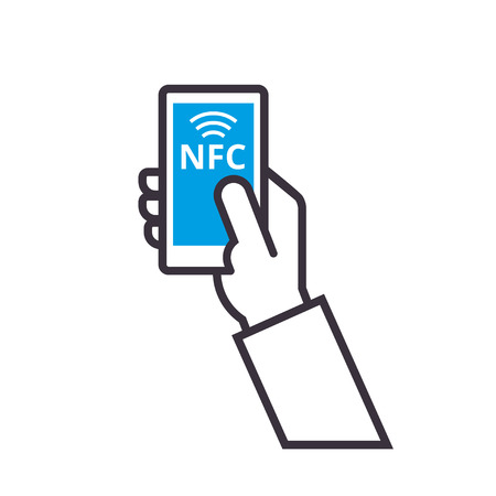 Contactless payment vector outline Icon. Mobile Payment with NFC technology. Near-field communication concept.