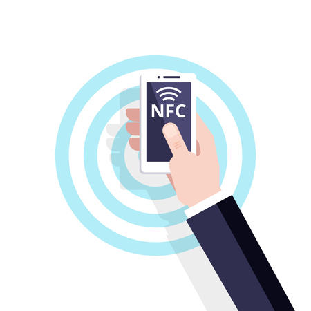 Contactless payment vector flat Icon. Mobile Payment with NFC technology. Near-field communication concept.