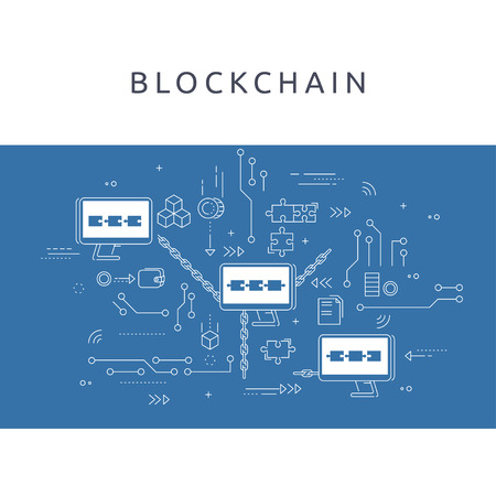 Block chain technology process abstract illustration in thin line style. Cryptocurrency vector concept.