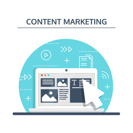 Content Marketing and Blogging concept in flat design. Creating, marketing and sharing of digital - vector illustration. Banco de Imagens