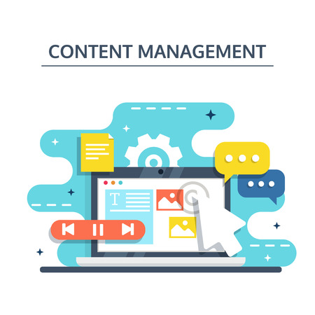 Content Management, SMM and Blogging concept in flat design. Creating, marketing and sharing of digital - vector illustration.