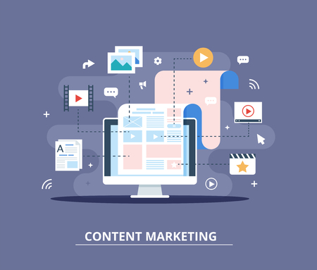 Content Marketing, Blogging and SMM concept in flat design. The blog page fill out with content. articles and media materials uploading process.