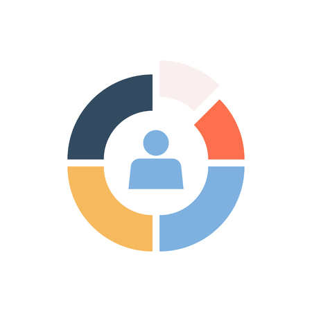 Market Segmentation vector icon. Color circle divided into segments business concept.