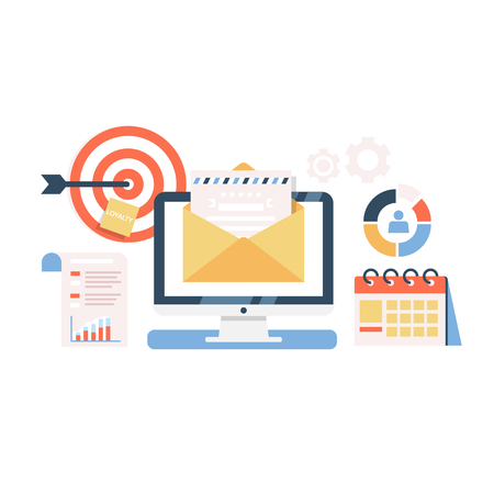 E-Mail Marketing Campaign flat illustration. Process of sending a letter to the target audience. Vector concept of mail delivery business campaign.