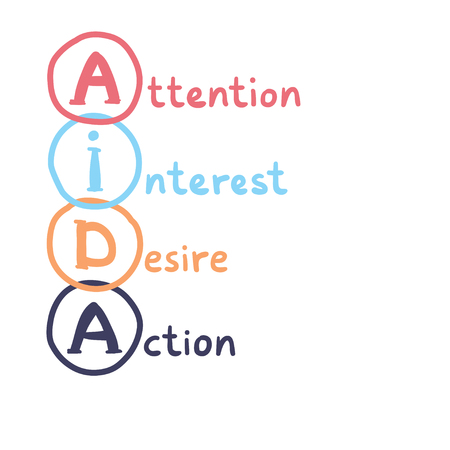 AIDA handwritten concept. Attention, Interest, Desire and Action - vector business illustration. Ilustração