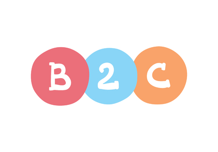B2C concept. Business-to-client vector business acronym.