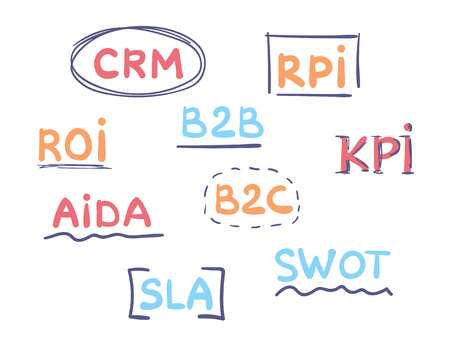 Handwritten Business acronyms vector set. Marketing concept. Ilustração