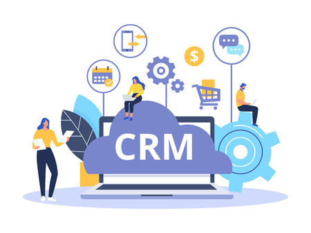 CRM concept design with vector elements. Flat icons of accounting system, planning tasks, support, deal. Organization of data on work with clients, Customer Relationship Management.