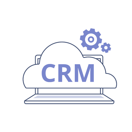 CRM outline vector icon. Organization of data on work with clients, Customer Relationship Management concept.
