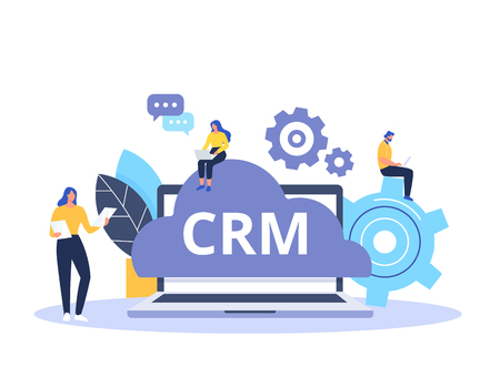 Conception de concept CRM avec des éléments vectoriels. Icônes plates du système comptable, tâches de planification, support, accord. Organisation des données sur le travail avec les clients, gestion de la relation client.