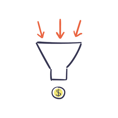 Sales funnel vector hand drawn illustration. Internet marketing conversion concept. Ilustração