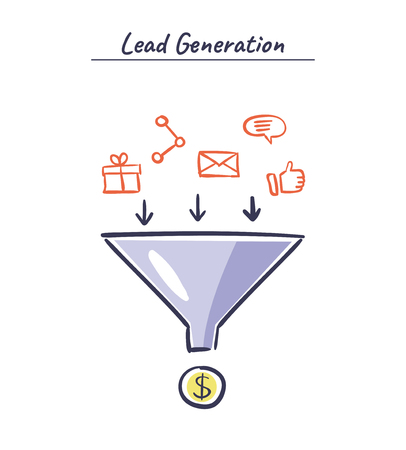 Lead generation vector concept. Process of leads production in sales funnel. Online marketing hand drawn illustration. Ilustração