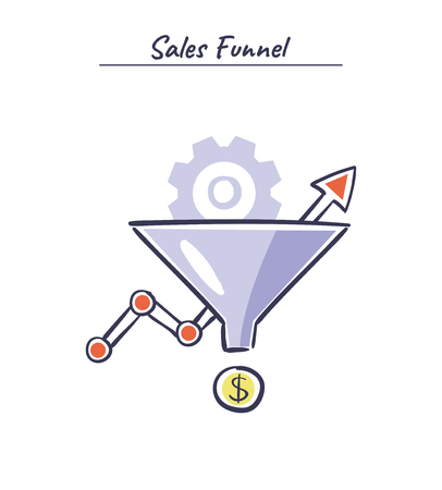 Sales funnel vector hand drawn illustration. Internet marketing conversion concept. Stock Illustratie