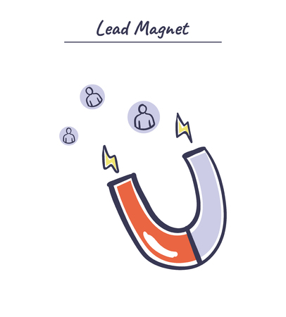 Lead Magnet vector hand drawn illustration. Business tool icon. Internet marketing concept.