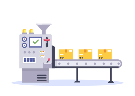 Conveyor belt in factory with assembly line. Technology and packing concept in flat style. Industrial machine vector illustration. Ilustração
