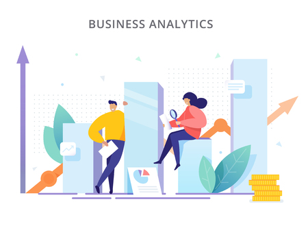 Business Analytics - vector illustration. People are near the graphs and analyze company performance. Creative concept of strategy, successful result and profit growth. Stock Illustratie