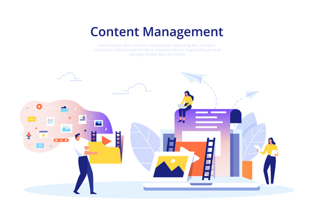 Content Management concept in flat design. Creating, marketing and sharing of digital - vector illustration. Stock Illustratie