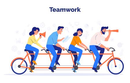 Un equipo de cuatro empresarios en bicicleta. Los socios trabajan juntos para lograr objetivos comunes. Concepto de vector de trabajo en equipo. Ilustración de vector