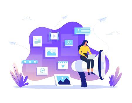 SMM, Content Management und Blogging-Konzept im Flat Design. Erstellen, Vermarkten und Teilen von Digital-Vektor-Illustration.