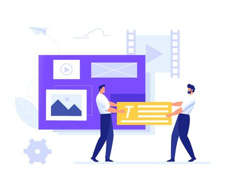 Team fill web page with content. Management, SMM and Blogging concept in flat design. Creating, marketing and sharing of digital - vector illustration.