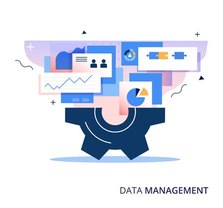 Data Management business vector abstract illustration. Information storage, analysis, protection and processing concept. Иллюстрация