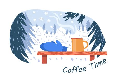 Coffee time for hiker, skier and snowboarder. Vector sticker. The aroma of coffee and view of the winter mountains with forest. Ski resort concept.