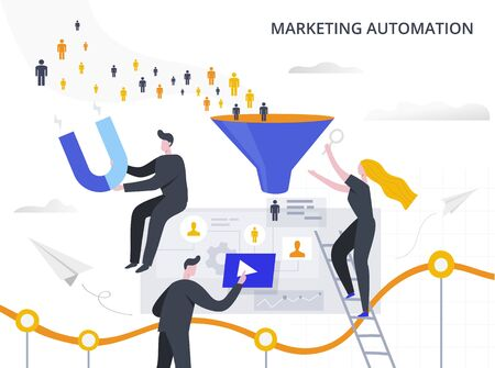 Marketing Automation and Lead Generation flat vector illustration. The process of attracting potential customers to the sales funnel, collecting information and automating the marketing process.