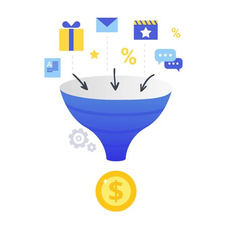 Lead Conversion flat vector illustration. The process of using bonuses, discounts, gifts to attract customers to the sales funnel and make a profit. 矢量图像